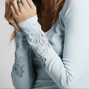 Free People Lighy Blue Arm Design Thermal Top